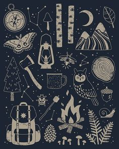 Into the Woods: Stargazing Throw Pillow by Camille Chew - Cover x with pillow insert - Indoor Pillow Illustration Inspiration, Illustration Art, Witch Aesthetic, Illustrations, Grafik Design, Stargazing, Zine, Constellations, Framed Art Prints