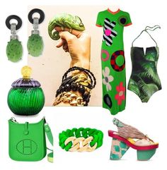 Bamboo green set with The Rubbzz Original bands in bamboo green silicon and 24k beaded links. by therubbzzoriginal on Polyvore featuring polyvore, fashion, style, Hermès, Kenneth Jay Lane, Baldi, Kenzo and clothing