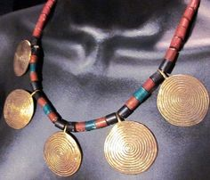Brass discs Ethnic brass necklace  brass by artsandadornments