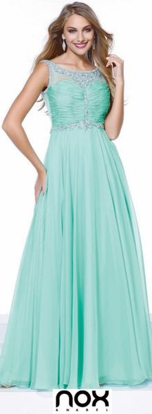 Mint Green A-line Prom Gown! #discountdressshop #mintgreen #prom #promdresses #promgown #green #chiffon #longgown #formal