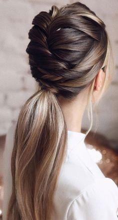 Easy Hairstyles For Long Hair, Ponytail Hairstyles, Pretty Hairstyles, Wedding Hairstyles, Updos, French Braid Ponytail, Wedding Hair Inspiration, Hair Brained, Hair Videos
