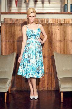 Priscilla Blue Hawaii Midi Dress
