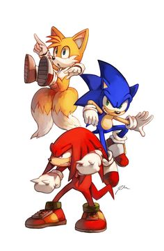 """Miles """"Tails"""" Prower, Sonic the Hedgehog, and Knuckles the Echidna"""