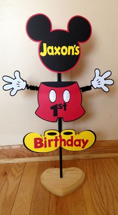 Mickey Mouse Stand Up Centerpiece Candy Table, Cake, or Present Table, Or Yard Party Sign Birthday Wiggle Arm Custom Saying Cute! Birthday on Etsy! Theme Mickey, Fiesta Mickey Mouse, Mickey Mouse 1st Birthday, Mickey Mouse Parties, Mickey Party, Mickey Minnie Mouse, 2nd Birthday, Mickey Mouse Birthday Decorations, Birthday Ideas