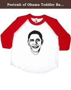 Portrait of Obama Toddler Baseball Shirt, 6T, White/Red. Barack Obama, our 44th President. A proud moment in US history. This unique design is printed on a white and red toddler shirt with 3/4 length sleeves, made in the USA and printed in Portland, Oregon. Select from a wide variety of colors and sizes, allowing you to create toddler boy shirts, toddler girls shirts or gender neutral baby clothes. Each design is a Baby Wit original making these the coolest baby gifts. If you are looking…