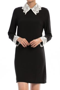Crochet Collared Dress is sophisticated and classy - it's no wonder that it's made in the USA.  Only $56 at cottonandpearls.com.