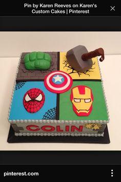 Square cake super heroes