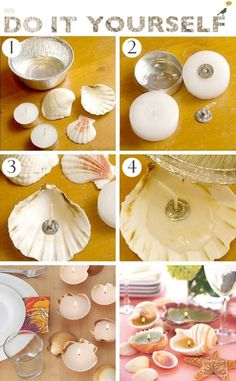 18 DIY Seaside Crafts That'll Bring The Beach Into Your Home - Craft Factory diy home crafts Seashell Projects, Seashell Crafts, Beach Crafts, Diy Home Crafts, Crafts For Kids, Craft Kids, Crafts With Seashells, Seashell Candles, Diy Para A Casa