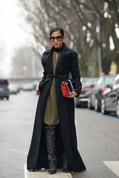 Carolines Mode | StockholmStreetStyle 2015 // Nausheen Shah // knee length dress and knee high boots style