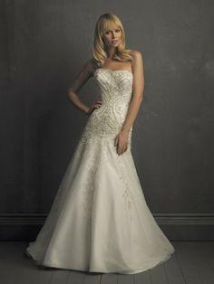 Taffeta Softly Curved Neckline Embroidered Bodice A-line Wedding Dress