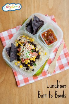 Easy to make lunchbox burrito bowls. A great idea to use up leftovers for lunch! | packed in #EasyLunchboxes container