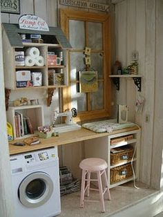 Wow, love this.  So much detail.  Look at the mini dollhouse shelving, just like the ones on pinterest.