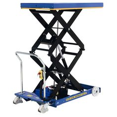 Our SC-800-D-E Battery Electric Double Mobile Scissor Lift Table features a double scissor, lifting loads of 800kg to a height of 1900mm.