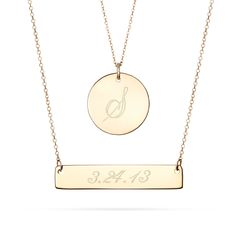 Layered 14K Gold Bar and Circle Charm necklace! The 14k Gold bar can be engraved with a name or a date. The 14k gold circle charm is for an initial!