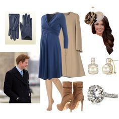 Duke and Pregnant Duchess at Christmas mass at church, created by royal-fashion on Polyvore