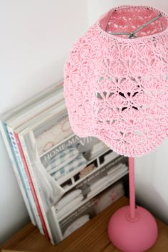 Crochet Lampshade - Baby Pink on Etsy, $67.00