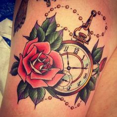 Pocket watch & rose tattoo.... Take out the rosé and add a Lilly!!