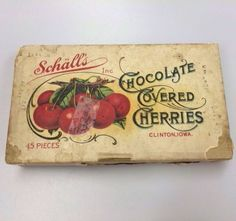 Antique Schall's Chocolate Covered Cherries Box Clinton Iowa Graphic Lid VTG
