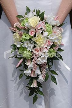Ivory & Pink Bridal Bouquet w/ Real Touch Roses and Freesia: Amazon.co.uk: Kitchen & Home