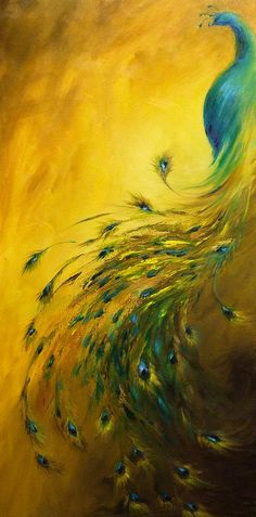 Peacock Canvas Print featuring the painting Show Off 1 Vertical Peacock by Dina Dargo Peacock Canvas, Peacock Painting, Peacock Art, Peacock Paint Colors, Peacock Bedroom, Peacock Drawing, Peacock Decor, Yellow Painting, Peacock Feathers