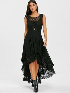 672540e41c2 Layered Lace High Low Dress - BLACK M To save in the are Dresslily Discount  Code. Through which individual can avail latest casual styles.