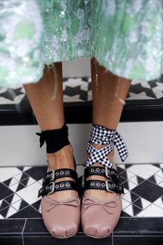 Aside from Gucci loafer goodness, the second biggest It shoe of the season was Miu Miu's ankle-tie buckle ballet pumps. Surprised?