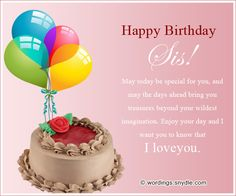 Birthday Wishes for Sister and Birthday Card Wordings for your Sister  Wordings and Messages
