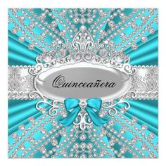 "Teal Diamond & Tiara Quinceañera Invitation 5.25"" Square Invitation Card"