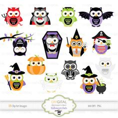Halloween Owls- 14 cute Halloween Owls -ghost, pirate, vampire, witches, skeleton, Harry Potter, pumpkin, mummy, Frankenstein, devil, coffin