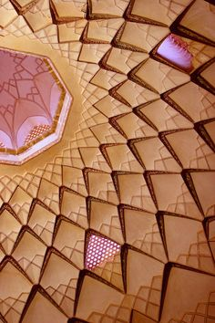 Abbasian House is a large traditional historical house located in Kashan, Isfahan Province, Iran. Built during the late 1700s, the house is a beautiful example of Kashani residential architecture. It is located near the Tabatabaei House in the old historic neighborhood of Kashan.  This photo is a view of the ceiling of one of the house's huge halls, which had been used for social gatherings and religious ceremonies.