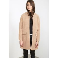 Forever 21 Women's  Open-Front Textured Coat ($63) ❤ liked on Polyvore featuring outerwear, coats, forever 21 coat, open front coat, full length coat, beige coat and forever 21