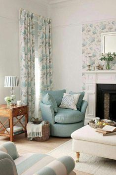 Ready-Made-Curtains from the Laura Ashley Collection diy home decor,diy,diy crafts,diy room decor,diy headboard Coastal Living Rooms, Home And Living, Living Room Decor, Living Spaces, Laura Ashley Living Room, Laura Ashley Curtains, Laura Ashley Home, Cool Beds, Home Interior Design