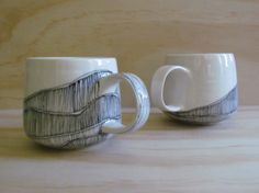 Black and White Lined Tea or Coffee Mugs  by MelissaMayaPottery, $48.00