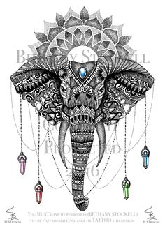 Elephant Mandala Drawing by Bethany Stockell (BLS Designs). All rights reserved. #elephant #elephantmandala #mandala #drawing #artwork #zentangle