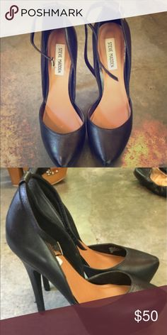 Steve Madden platform heels My favorite shoe! Strap wraps around the ankle,very high heel with platform front,all black leather. Minor wear and tear on the heel, not easily noticed. Steve Madden Shoes Heels