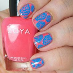 Painted Nubbs: Blue Roses on Coral featuring Zoya Wendy