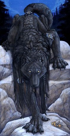 Eyes of the Night by Christy Grandjean Werewolf, quadrupedal