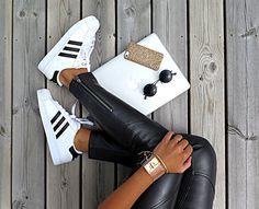 Leather pants + Adidas