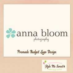 Stylemesweetdesign Premade Photographer Logo A Cute Flower and Modern Text Photography Photographer Logo Premade Budget Logo. $15.00, via Etsy.
