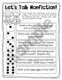 Dice Discussions:  Differentiated prompts focused on literacy and team-building... great for ice breakers and for processing the meaning of texts (fiction and nonfiction).  32 pages, $  #accountabletalk  #nonfictiontext