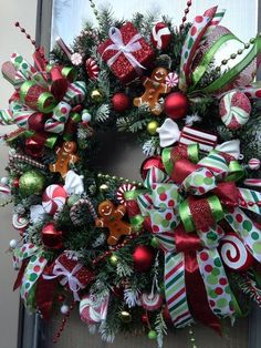 """""""CHRISTMAS BOUTIQUE WINDOW"""" - Whimsical & Festive Gingerbread Candy Wreath in Home & Garden, Holiday & Seasonal Décor, Christmas & Winter 