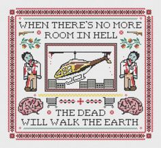 Dawn of the Dead Inspired Cross Stitch Sampler PATTERN