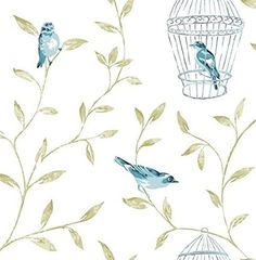 Graham & Brown 50-517 Fresco Songbird Wallpaper, Teal by Graham & Brown
