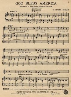 free printable god bless america sheet music - Google Search