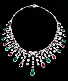 Emerald, ruby and diamond necklace by David Webb, circa 1940