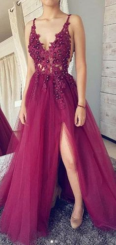 Buy A line Burgundy V Neck Straps Tulle Prom Dresses Beads Lace Appliques Party Dresses online.Shop short long ombre prom, homecoming, bridesmaid evening dresses at Couture Candy Cocktail party dresses, formal ball gowns in ombre colors. V Neck Prom Dresses, Beaded Prom Dress, Tulle Dress, Lace Dress, Dress Prom, Tulle Lace, Prom Dresses Flowers, Magenta Dresses, Satin Tulle
