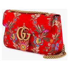 Gucci Red Floral Marmont 2.0 Shoulder Bag (84.610 RUB) ❤ liked on Polyvore featuring bags, handbags, shoulder bags, gucci handbags, gucci purse, gold handbags, quilted purses and floral purse