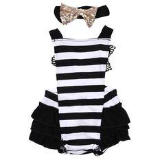 2b05ff7155e3 Tutu Skirted Romper. Baby JumpsuitStriped JumpsuitCute Newborn Baby GirlBaby  ...