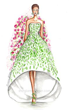 Hello Spring!! | Fashion illustration, fashion sketch, doodle Oscar de la Renta http://www.theglampepper.com/2015/03/21/hello-spring/