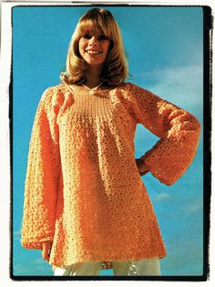 "Instant Download PDF Seventies Vintage CROCHET PATTERN to make a Lace Smock Top Long Sleeves Tunic Short Dress in 2 Sizes 33"" to 38"" Bust on Etsy, $3.50"